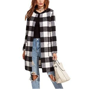 Jackets & Blazers - Classic Plaid Coat With Pockets